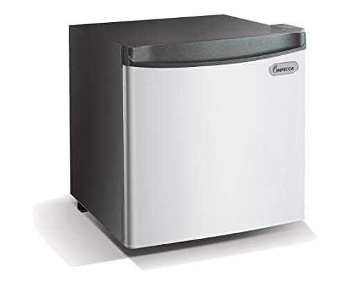 Impecca Compact Refrigerator and Freezer, Classic Refrigerator 1.7 Cubic Feet Stainless Look Front
