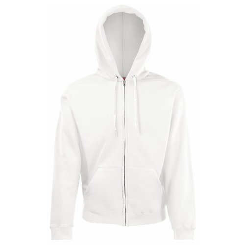 Fruit of the Loom Mens Hooded Sweatshirt Jacket (M) (White)