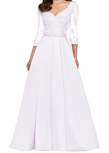 A LuckyShe Abendkleider mit 4 Hochzeitsgäste Damen for Weiß Ärmeln Lang linie 3 Ballkleid Spitze TqAFqEw