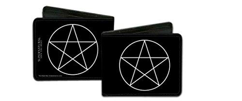 Wallet Pentagram (Supernatural White Pentagram on Black Leather Bifold Wallet)