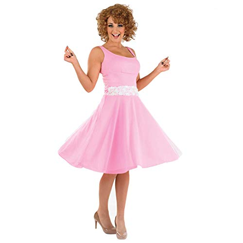 Womens 80s Baby Costume Adults Dancing Movie Iconic Pink Dress -