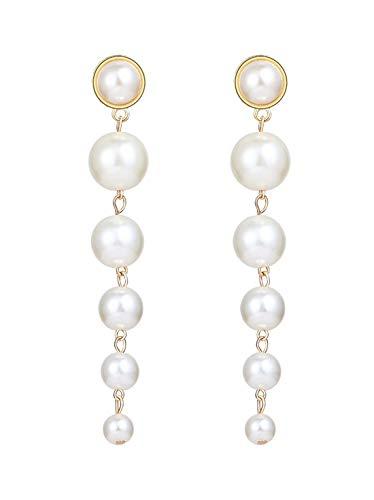 EVELICAL 1 Pairs Faux Pearl Earrings for Women Girls Dangle Drop Earring Set Ear Jewelry (Long Black Drop Earrings)