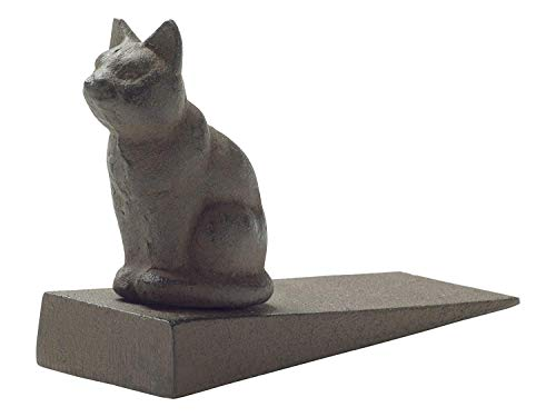 Comfify Vintage Cast Iron Cat Door Stop Wedge Lovely Decorative Finish, Padded Anti-Scratch Felt Bottom Protects Floors | in Rust Brown (Cat Door Stop CA-1507-12)