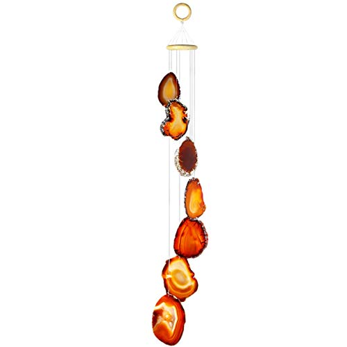 SUNYIK Handmade Natural Agate Slice Wind Chime for Garden Home Decor Window Ornament, Red, Size 25-31 inch