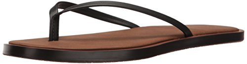 Black Leather Flip Flop - Sanuk Women's Yoga Aurora Flip-Flop, Black, 09 M US