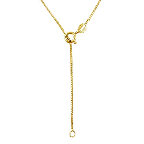 """14kt Yellow Gold Plated Sterling Silver 1mm Box Chain Necklace Solid Italian Nickel-Free, 16"""" with 2"""" Extender"""