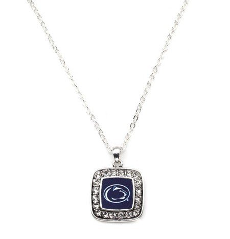 Penn State Nittany Lions NCAA Officially Licensed Silver Plated Square Crystal Charm (Crystal Plated Charm)