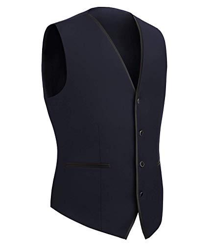 Scollo A Fit Battercake Tuta Vest Tuxedo Capispalla V Uomo Slim Monopetto Senza Jacket Navy Da Maniche Comodo Giacche 7BPxAqw4