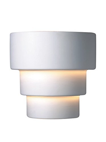 Justice Design Group Lighting CER-2225W-BIS Outdoor Wall Sconce with Ceramic Bisque Shades, White