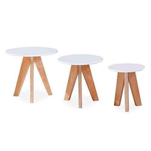 Paris Prix - Set de 3 Tables d'Appoint Design Dalian Blanc