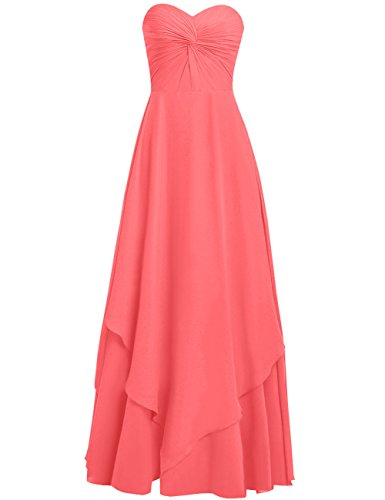 Bridesmaid Dresses Prom Coral Gowns Long Wedding Sweetheart Cdress Evening Chiffon Simple Ptv4nw0xEq
