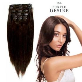 14 SHF Purple Desire Human Hair Extensions Clip In Set