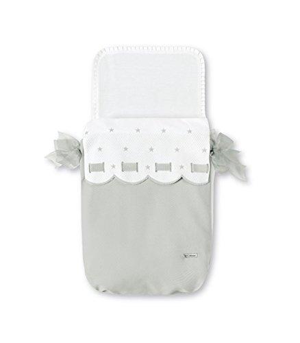 Bimbi Class–Fußsack Babyschale, 35x 77cm, weiß und grau