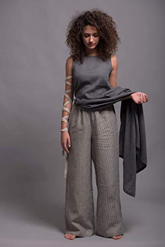 Wide Leg Linen Pants BORA with side pockets - Regular, Tall, Plus Size - Custom made - 31 colors