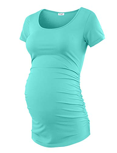 Maternity Shirt Maternity Tank Tops Maternity Top Womens Pregnancy Shirts Clothes Auqa Blue S ()
