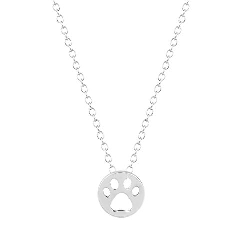 klace Dog Paw Print Dye Cut Coin Shaped Animal Necklace Pendant Necklace Silver ()