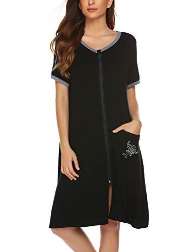 Ekouaer Sleepwear Women Zipper Front House Coat Lightweight Soft Robe Short Nightgown Black