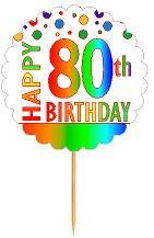 CakeSupplyShop Item#RP-081 Happy 80th Birthday Rainbow Novelty Cupcake Decoration Topper Picks -12ct