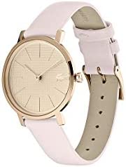 Lacoste Women's Moon Stainless Steel Quartz Watch with Leather Calfskin Strap, Pink, 16 (Model: 2001113) 2