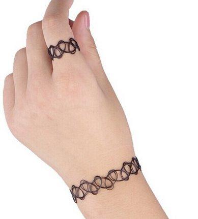 Amazon Com Huaiysl Stretch Henna Tattoo Choker Ring Bracelet Jewelry