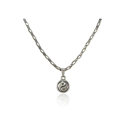 [Mens Womens Stainless Steel Yin Yang Pendant Necklace 16 Inches Nickel Free Jewelry] (Simple 3 People Costumes)