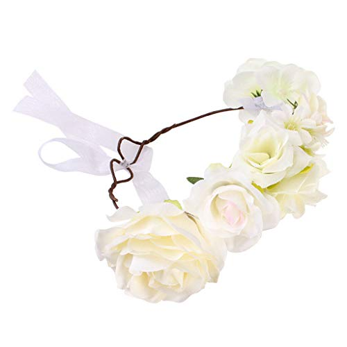 (Girl Flower Crown Headband Wedding Prom Beach Floral Garland Hairband Stylish (Color - White (for Kids)))