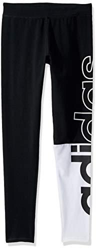 adidas Girls' Big Performance Tight Legging, Black White Logo, Medium (Adidas Girls Sportbands)