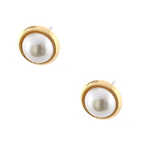 (Topwholesalejewel Wedding Earrings Gold Plating Faux Dome Pearl Stud)