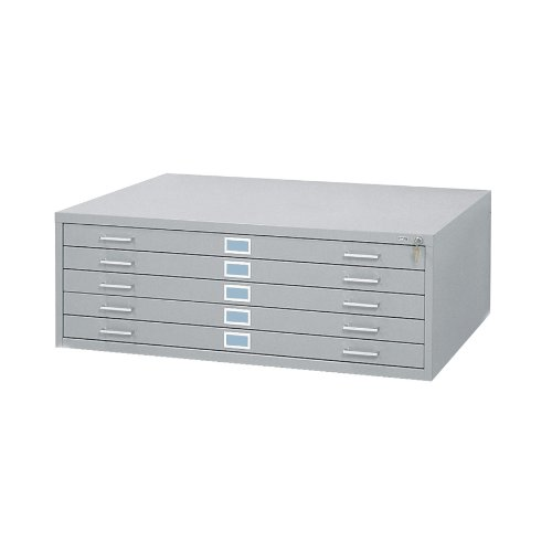 "Safco Products 4996GRR Flat File for 42""W x 30""D Documents, 5-Drawer (Additional options sold separately), Gray"