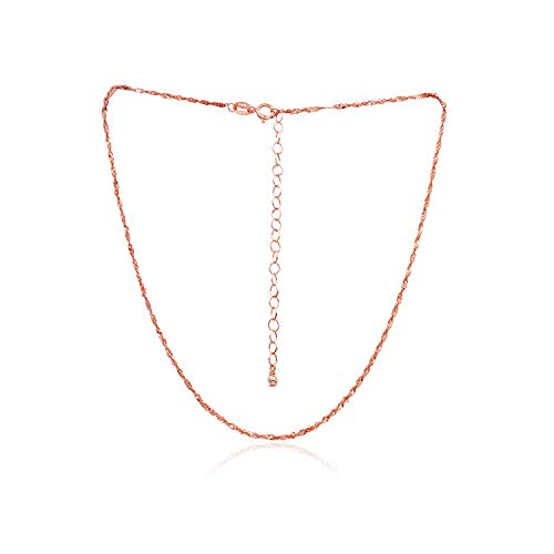 Sea of Ice Rose Gold Flashed Sterling Silver 1mm Twisted Curb Singapore Rope Chain Necklace, Size 14