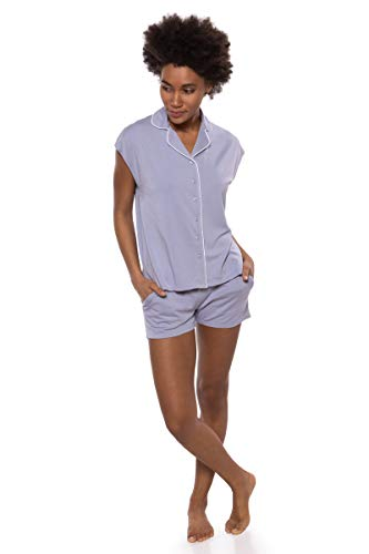 Texere Women's Jersey Shorts PJ Set (Civita, Icelandic Blue, 2X) Best Gift Idea