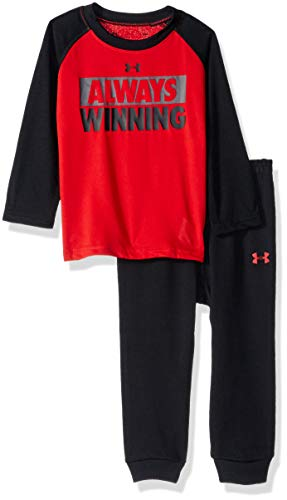 Under Armour Boys' Baby Two Piece Graphic Tee and Pant Set, red Always Winning, 18 Months