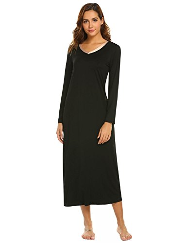 Skylin Plus Size Luxury Nightgown Pj for Women Nightshirt Loose Sleepdress Loungewear (Black,XXL)