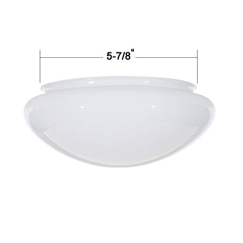 Glass Ceiling Domes - 7.5-Inch White Mushroom Glass Shade - 5-7/8-Inch Fitter Opening