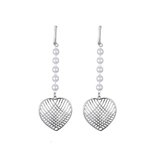 Beads Chain Hollow Heart Long Dangle Earrings Fashion Women Party Earrings, Silver