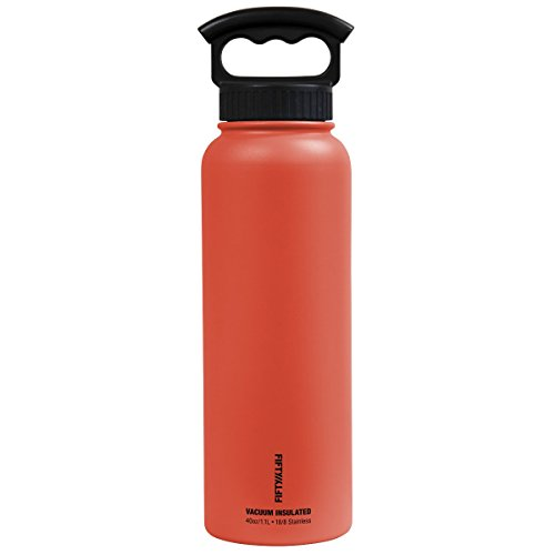 FIFTY/FIFTY Vacuum-Insulated Stainless Steel Bottle with Wide Mouth - 40 oz. Capacity - Coral