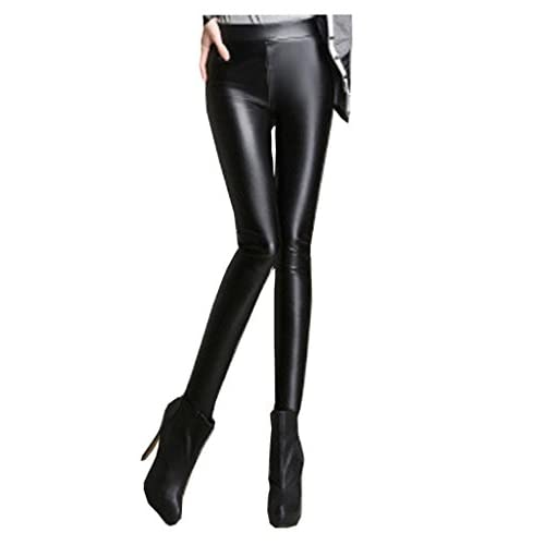 Pu S Leggings Leather Black Faux Lotsyle Waist Women's Pants Low 6CnUqw