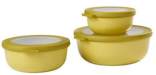 Mepal Cirqula Set of 3 Plastic Bowls, Plastic, Nordic Lime, 19.2 x 8 cm