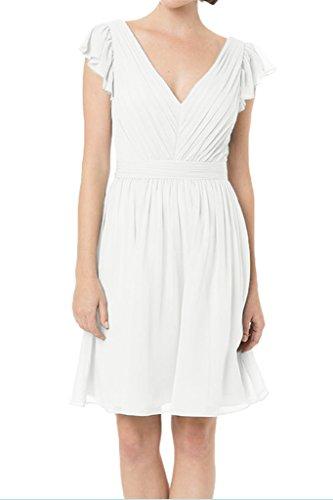 A Ausschnitt V Ivydressing Abendkleid Damen Linie Kurz Weiß Festkleid Einfach Brautjungfernkleid Promkleid wqtfHFtX1