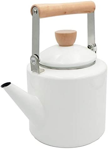 Keypro Enamel on Steel Tea Kettle, 1.7-Quart Maximum Safe Capacity, Cylindrical Shape with Wood Handle, Vintage Style White
