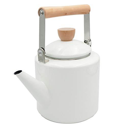 Keypro Enamel on Steel Tea Kettle, 2.1-Quart Maximum Capacity, Cylindrical Shape with Wood Handle, Vintage Style(White)