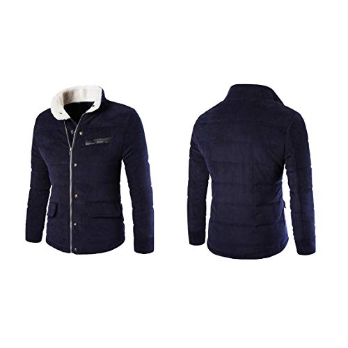 Blue Pocket Addensare Colletto L Caldo Stand up Design Autunno Coste Monopetto Giacca Maschile Zacard A Moda Inverno Uomo Cappotto Abbigliamento Velluto Navy RYOFx