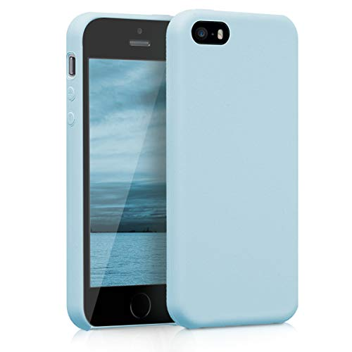 kwmobile TPU Silicone Case for Apple iPhone SE / 5 / 5S - Soft Flexible Rubber Protective Cover - Light Blue Matte