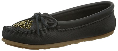 Moccasin Shoes Women's Deerskin Black Beaded Minnetonka Loafers tqSTXww