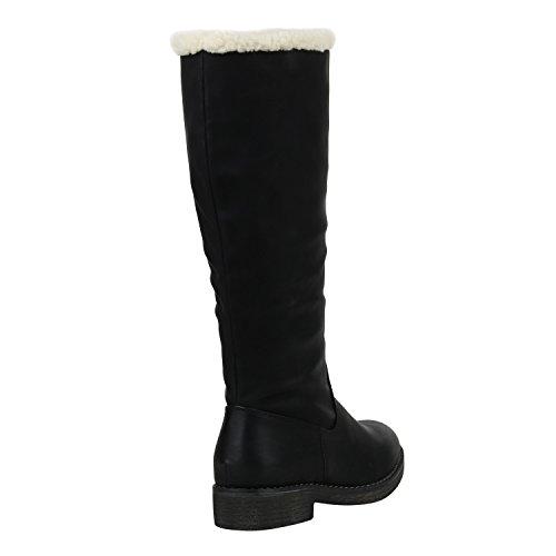 Stiefelparadies Damen Warm Gefütterte Stiefel Winterstiefel Schnallen Kunstfell Winter Boots Damenschuhe Profilsohle Bommel Booties Schuhe Flandell Schwarz Agueda