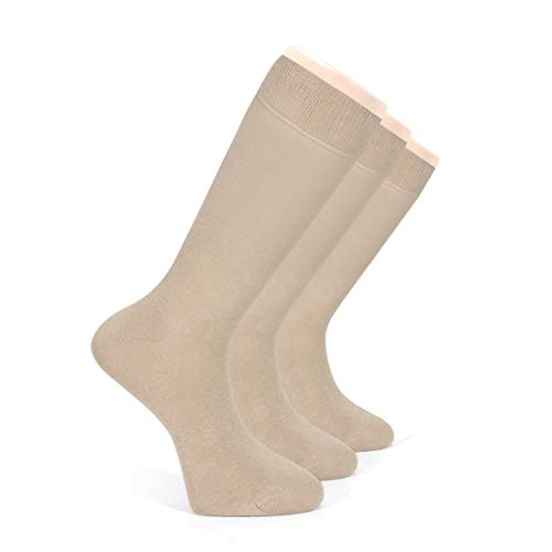 Women's Bamboo Dress Socks, Seamless, Crew, Size: 6-9 & 9-12 (3 Pairs) (6-9, Bamboo/Beige (3 Pairs))
