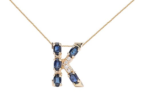 Albert Hern Blue Sapphire Necklace with Diamonds & 18K Gold Chain | Irresistible Sapphire Letter K Pendant Jewelry | Perfect Valentine's Day, Anniversary & Birthday Gift