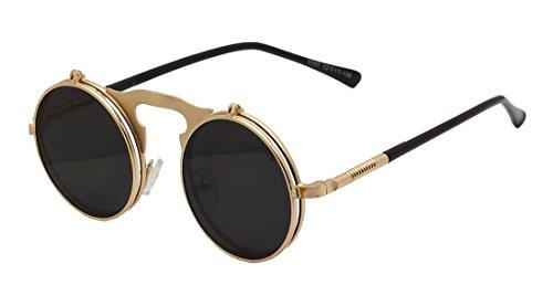 Mens Womens 80's Boho Chic Gothic Steampunk Sidestreet Grey Lens Flip-up Round Mirror Lens Metal Frame Sunglasses Goggles