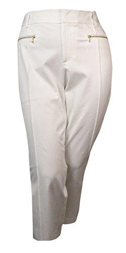 INC International Concepts Womens Zipper Straight-Leg Crop Pant, 6, Bright White