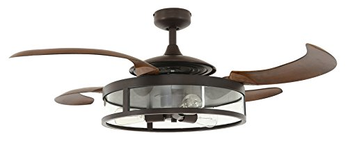 Fanaway 212925010 Classic Retractable 4 Blade Indoor Ceiling Fan with Dimmable LED Light Kit and Remote Control, 48 Inch, Oil Rubbed Bronze and Dark Koa